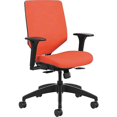HON® Solve™ Mid-Back Office Chair w/Adj Arms, Charcoal ReActiv™ Fabric Back, Seat: 22W x 19D, Back: 19H x 19W, Bittersweet