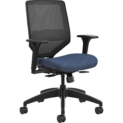 HON® Solve™ Mid-Back Office Chair w/Adj Arms, Mesh Back, Seat: 22W x 19D, Back: 19H x 19W, Black/Midnight