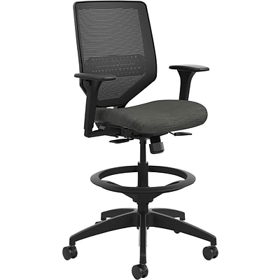 HON® Solve™ Mid-Back Computer Stool with Adjustable Arms, Mesh/Fabric, Black/Ink, Seat: 22W x 19D, Back: 19W x 19H