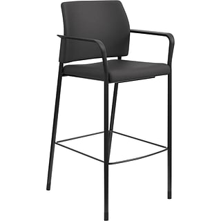 HON® Accommodate™ Cafe Stool with Fixed Arms, Fabric, Black, Seat: 14W x 18D, Back: 18W x 19H
