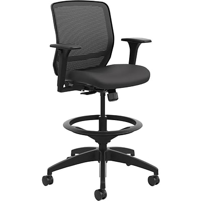 HON® Quotient™ Computer Stool with Adjustable Arms, Mesh/Fabric, Black, Seat: 19W x 19D, Back: 19W x 19H