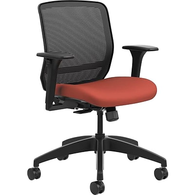 HON® Quotient™ Office Chair with Adjustable Arms, Mesh/Fabric, Black/Poppy, Seat: 19W x 19D, Back: 19W x 19H