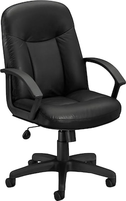 "Basyx By Hon(r) High Back Executive Chair, Leather, Black, Seat: 20 1/2""w X 17""d, Back: 20 1/2""w X 26 1/2""h"