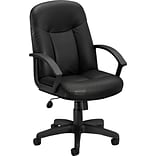 basyx by HON® High-Back Executive Chair, Leather, Black, Seat: 20 1/2W x 17D, Back: 20 1/2W x 26