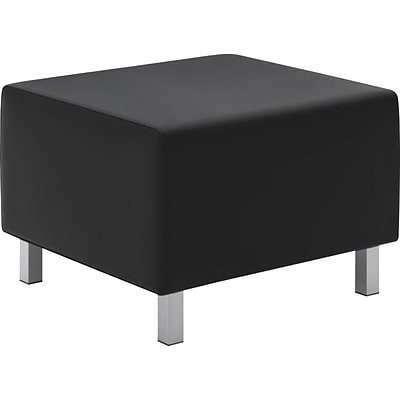 basyx by HON® VL862 Modular Lounge Ottoman, Leather, Black, Seat: 25W x 25D