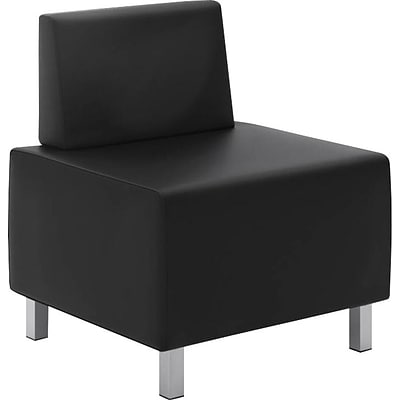 basyx by HON® VL864 Modular Lounge Chair, Leather, Black, Seat: 25W x 25D