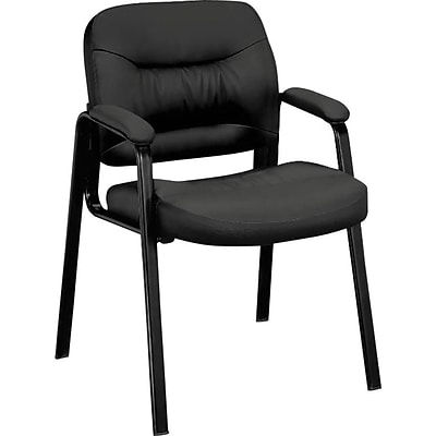 basyx by HON® Guest Chair, Leather, Black, Seat: 19W x 19 1/2D, Back: 21 1/4W x 18H