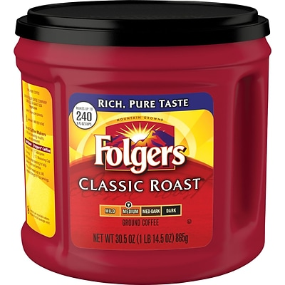Folgers® Classic Roast Ground Coffee, Regular, 30.5 oz. Canister