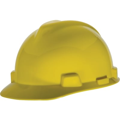 MSA Safety® V-Gard® Slotted Hard Hats, Polyethylene, Standard, Staz-On, Cap, Yellow