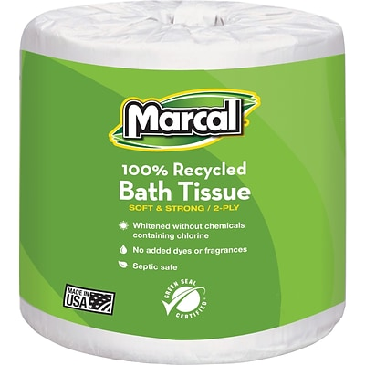 Marcal 100% Recycled Bath Tissue, 2-Ply, White, 336 Sheets/Roll, 48 Rolls/Case (6079-48)