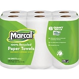 Marcal® 100% Recycled Perforated U-Size-It Giant Roll Towel, 2-Ply, 140 Sheets/Roll, 24 Rolls/Case (