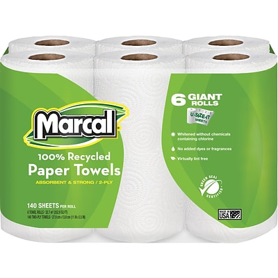 Marcal® 100% Recycled Perforated U-Size-It Giant Roll Towel, 2-Ply, 140 Sheets/Roll, 24 Rolls/Case (6181)