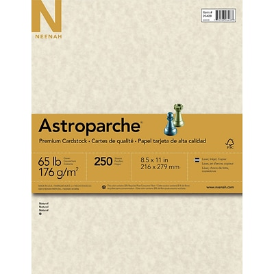 Astroparche Cardstock, 8.5 x 11, 65lb., Natural, 250 Sheets/Pack (26428/27428)