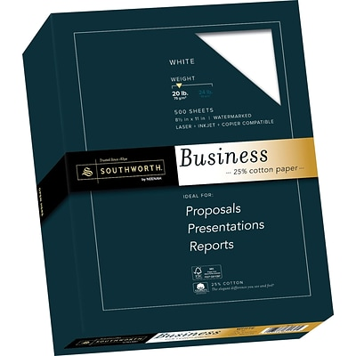 Southworth® 25% Cotton-Content Fine Business Paper, Letter Size, 20-lb., 500 Sheets/Box
