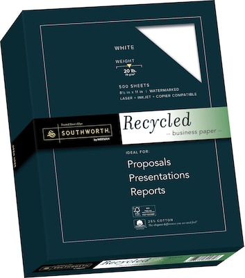 "Southworth 25% Cotton Recycled Business Paper, 8.5"" x 11"", 20 lb., Wove Finish, White, 100 Sheets/Box (603C)"