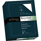 Southworth 25% Cotton Recycled Business Paper, 8.5 x 11, 20 lb., Wove Finish, White, 100 Sheets/Bo