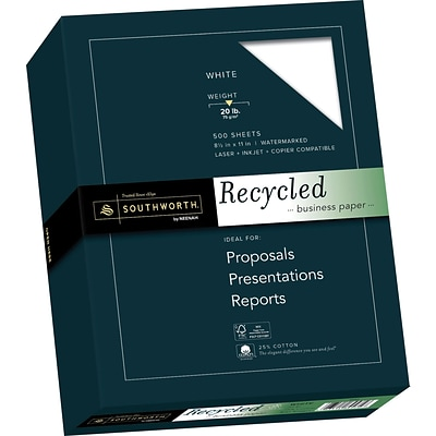 Southworth 25% Cotton Recycled Business Paper, 8.5 x 11, 20 lb., Wove Finish, White, 100 Sheets/Box (603C)