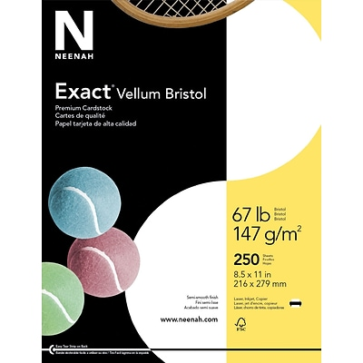 Exact Vellum Bristol, 8.5 x 11, 67 lb., Semi-smooth Finish, White, 250 Sheets/Pack (80218 / 81318)