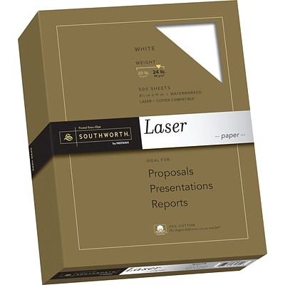 SOUTHWORTH Laser Paper, 8 1/2 x 11, 24 lb., Smooth Finish, White, 500/Box