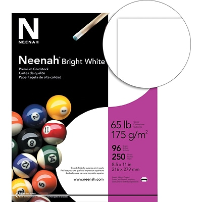 Neenah Bright White Cardstock, 8.5 x 11, 65 lb./176 gsm 250 Sheets/Pack (91904/ 92904)
