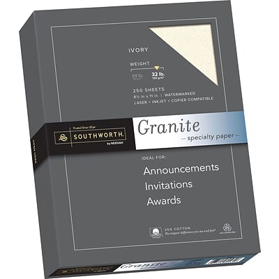 Southworth Granite Specialty Paper, 8.5 x 11, 32 lb., Smooth Finish, Ivory, 250 Sheets/Box (J938C)