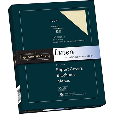 SOUTHWORTH Linen Business Cover Stock, 8 1/2 x 11, 65 lb., Linen Finish, Ivory, 100/Box