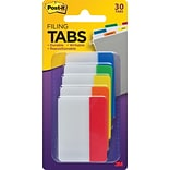 Post-it® Tabs, 2 Wide, Assorted Colors, 30/Pack (686-ROYGB)