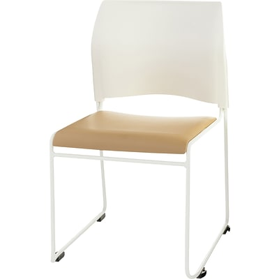 NPS #8721-01-21 Cafetorium Stack Chair, Beige Vinyl Seat/White Backrest - 4 Pack
