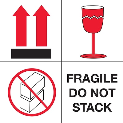 Tape Logic® Labels, Fragile - Do Not Stack, 4 x 4, Red/White/Black, 500/Roll