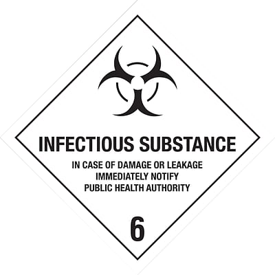Tape Logic Infectious Substance - 6 Tape Logic Shipping Label, 4 x 4, 500/Roll