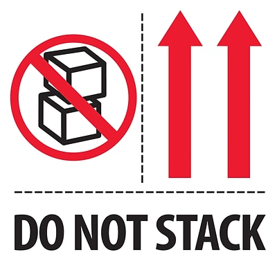 Tape Logic® Labels, Do Not Stack, 4 x 4, Red/White/Black, 500/Roll (IPM324)