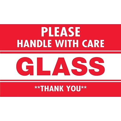 Tape Logic® Labels, Glass - Please Handle With Care, 3 x 5, Red/White, 500/Roll