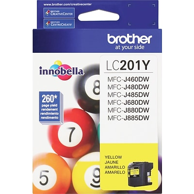 Brother LC 201 Yellow Ink Cartridge, Standard (LC201Y)