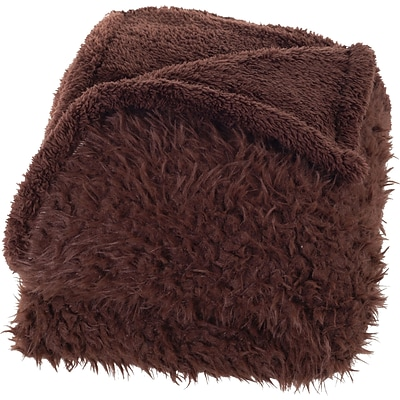 Lavish Home 61-00009-C Solid Plush Throw; Coffee