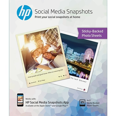 HP Social Media Snapshots 4 x 5 Sticky Back Photo Paper, 25 sheets/pack