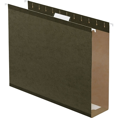 Quill Brand® Reinforced 5-Tab Box Bottom Hanging File Folders with 3 Expansion, Letter, Dark Green, 25/Bx (730052)