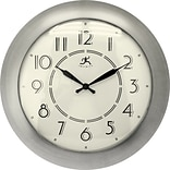 Infinity Instruments 14.5 Retro Diner Style Wall Clock, Berkeley Brushed Nickel