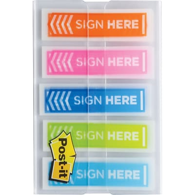 Post-it® 1/2 Sign Here Message Flags, Assorted Colors, 20 Flags/Dispenser, 5 Dispensers/Pack (684-SH-OPBLA)