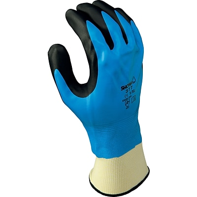 Best Manufacturing Company Black & Blue Liquid Resists 1 Pair Palm Coated Glove, XL