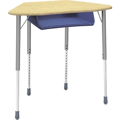 Virco® Adjustable-Height 4-Leg Open-Front Plastic Top Collaborative Student Desk; Maple/Blue, 2/CT