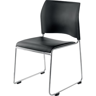 NPS #8710-11-10 Cafetorium Stack Chair, Black Vinyl Seat/Black Backrest