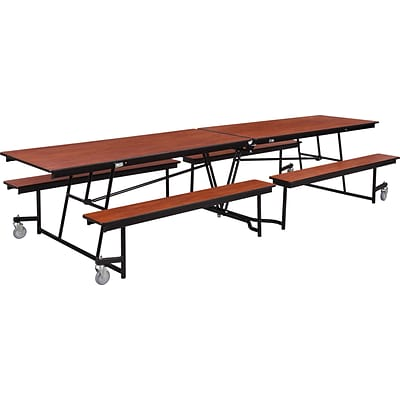NPS® 8 Mobile Fixed Bench Cafeteria Table; Cherry