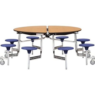 NPS® 60 Round Mobile Table w/ 8 Stools; Cherry/Black
