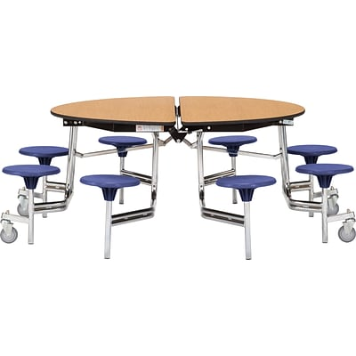 NPS® 60 Round Mobile Table w/ 8 Stools; Light Oak/Blue
