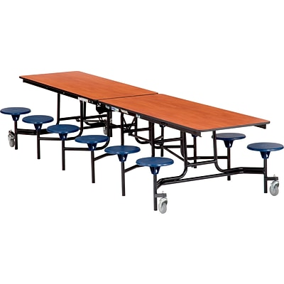 NPS® 8 Rectangular Cafeteria Table w/ 8 Stools; Light Oak/Blue