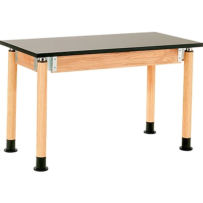 NPS® 24x54 Chemical Resistant Height-Adjustable Science Table; Oak Legs, Casters
