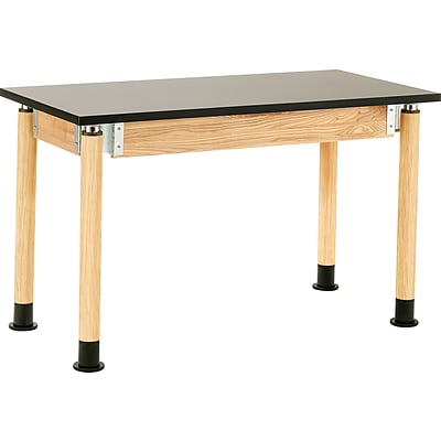 NPS® 30x60 Chemical-Resistant Height-Adjustable Science Table; Oak Legs, Casters
