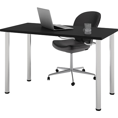 Bestar® 24x48 Table with Round Metal Legs; Black