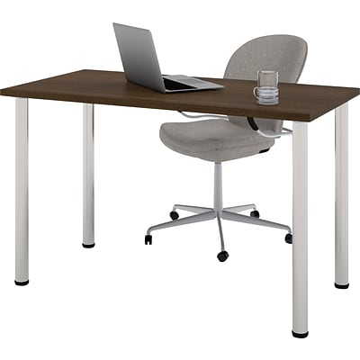 Bestar® 24x48 Table with Round Metal Legs; Tuxedo
