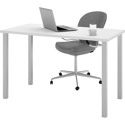 Bestar® 24x48 Table with Square Metal Legs, White